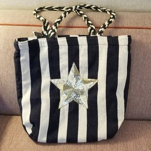 Large Circus striped totebag.with a GOLD STAR